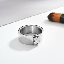 New Double-layer Cartoon Bear Titanium Steel Rings Unisex Ring Fashion Jewelry