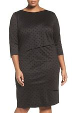Tahari Black Tiered Dress Womens Size 20W Black Sheath Polka Dot 3/4 Sleeve