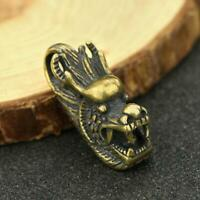 Chinese Brass Dragon Head Pendant Small Statue Old China Zodiac Xmas Pocket Gift