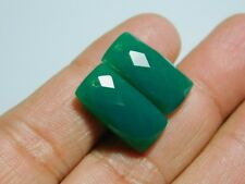 Pair Of Front To Back Drilled Green Onyx Checkerboard Cut Fancy Briolette 20x10M