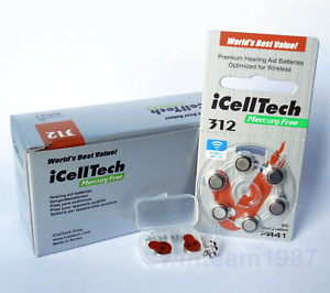 60 iCellTech Hearing Aid Batteries Size 312, PR41 Free Keychain Expires 2024