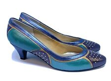 Vtg 80s Selby Colorblock Leather Pumps Heels Teal Blue Gold Studded Womens 8 B