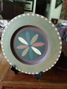 "Primitive Folk Plate/Platter 12"" Hearthside Collection Signed Kathy Graybill"