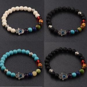 Natural Stone Energy Yoga Reiki 7 Chakra Handmade Men Women Fashion Bracelets