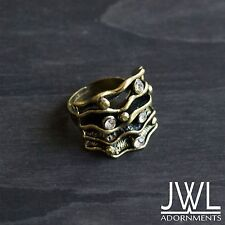 Gold Silver Black Bronze Adjustable Fashion Rimestone Ring