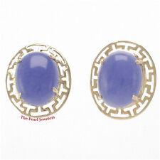 14k Yellow Gold Greek Key Design, Oval Cabochon Lavender Jade Stud Earrings TPJ