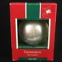 VTG 1989 Grandparents Hallmark Keepsake Glass Christmas Ornament Made in USA
