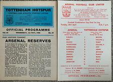 More details for arsenal reserves v tottenham/spurs reserves combination cup final both legs 1968