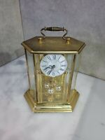 Vintage Bulova Anniversary Mantel Clock Hexagon Carriage Style Brass  9 x 7""