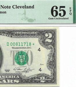 1976 $2 CLEVELAND * STAR * ⭐️ FRN, PMG GEM UNCIRCULATED 65 EPQ BANKNOTE.