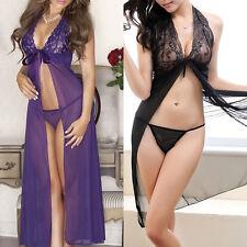 Ladies Babydoll Nightwear Lace Sheer Dress G-String Lingerie Sleepwear Gown New