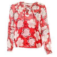 EMPORIO ARMANI Blouse Red Floral Silk Size 42 / UK 10 RRP £249 BG 223