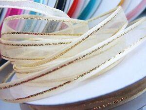 """25 yards Roll 3/8"""" Organza Ribbon Gold Edged Trim/Sheer/Wedding Supply R11-Ivory"""