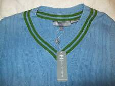 Hickey Freeman 100% Cotton Cableknit V-neck Sweater Vest NWT Large $250 Slim Fit