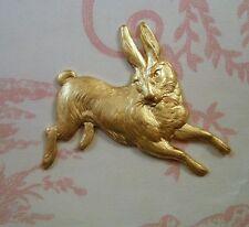 Large Raw Brass Running Rabbit Stamping (1) - FFA14065 Jewelry Finding