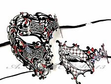 Couple Half Face Metal Evil Skull And One Eye Phantom Custom Masquerade Mask