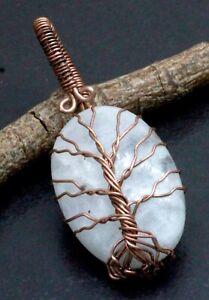 "Wire Wrap Rainbow Moonstone Gemstone Handmade Jewelry Wrapped Pendants Size-2"""