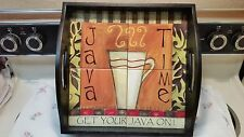 "java time tile&wood serving tray-12.5""x12.5"""