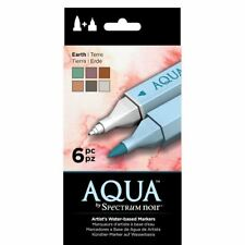 Spectrum Noir Aqua Water Based Marker Art Craft Marker Pens - Earth 6 Pack