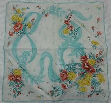 Vintage Hanky Handkerchief ~ Pink & Yellow Floral Teal Leaves Ribbon &  Border