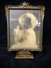 Wood & Gesso Gold Gilt Frame Victorian Art Nouveau Era Print of Girl Rabbit