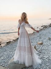 Lace Applique Off Shoulder Wedding Dresses Boho Long Bridal Gowns Beach Bohemian