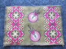 Circa 1910, Tobacco Felt, Native American Themed Flannel Mini Rug, # Buf-003081