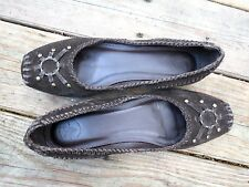 Frye Size 10 Womens Brown Suede Harness Ring Moccasin Ballet Flats Shoes