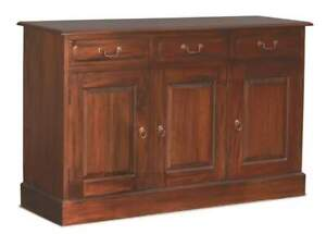 Timber Sideboard W145 3 Doors 3 Drawers Buffet, Kitchen Cupboards Mahogany