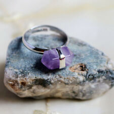 100% Genuine Handmade Purple Amethyst Gemstone Silver Adjustable Rings For Woman