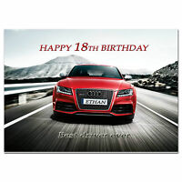 c247; Large Personalised Birthday card; Custom made for any name; AUDI