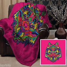 rose coloré ethnique Loup Design Polaire Design Doux Couverture polaire Housse