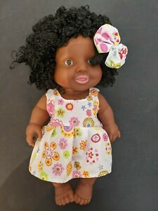 """10"""" Baby Girl Doll with Floral White Dress and Curly Hair"""