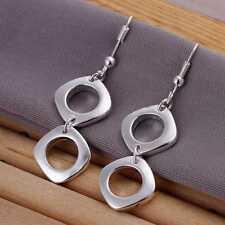ASAMO Damen Ohrhänger Ohrringe Vierecke 925 Sterling Silber plattiert O1024