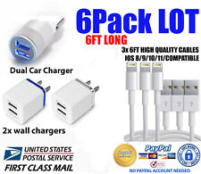 Sync Charging Kit -3x 6ft Charger Cords + Wall & Car Charger for iPhone 8 7 6+ X