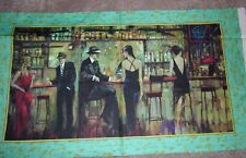 Vintage Cocktail Bar Scene Quilt Panel Artworks Cotton Fabric
