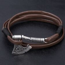 Viking Axe Wrap Bracelet Leather Wristband Rune Cuff Norse Icelandic