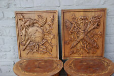 PAIR french 1950 Wood carved cabinet door panels escutcheon