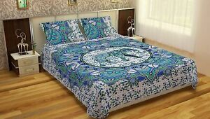 Multi Elephant Print Queen Size Bed Sheet Cover With 2 Pillow Case Bedding Set