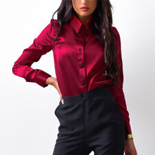 Women Silk satin Blouse button Lapel Shirts Office Elegant High Quality Tops FG