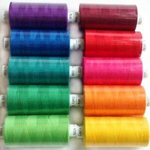 Coats Moon Sewing Machine Overlocking Thread Cotton 1000 yards - 10 X Mixed