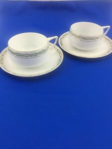 Rosenthal SELB Bavaria Donatello Coffee Tea Cups Pair W/ Saucers Gold Trim Roses