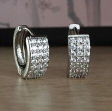 Stunning 18K / 18ct White Gold Diamonds Hoop Earrings