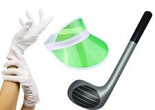 GREEN Pub Golf Set Sun Visor, Gloves & Inflatable Golf Club Fancy Dress Unisex