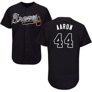 Atlanta Braves #44 Hank Aaron Black Baseball Jersey Fanmade Size XS-4XL