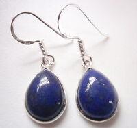Lapis Pear-Shaped 925 Sterling Silver Dangle Earrings Corona Sun Jewelry