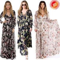 Fashion Women Chiffon Floral Long Sleeve Deep V-Neck Boho Beach Long Maxi Dress