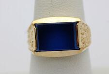 14k Yellow Gold YG Hammered Design Rectangular Blue Glass Ring Size 9.5   GG869