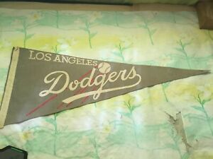 """Vintage Los Angeles Dodgers Pennant 11"""" x 29"""" Faded"""