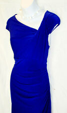NWT Ralph Lauren Royal Blue Dress Sleeveless Side Ruching Size 16 MSRP $130